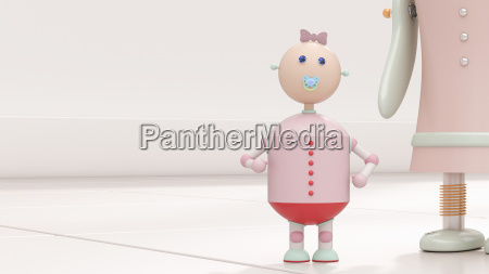 robot baby next to mother 3d