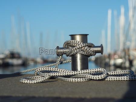 stainless steel bollard in a marina