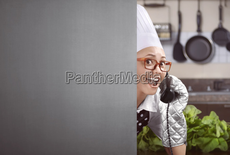 happy asian female chef lifted up