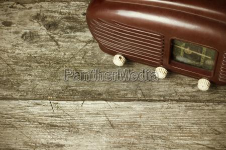 high angle view of old radio