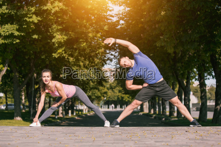 fit fitness woman and man doing