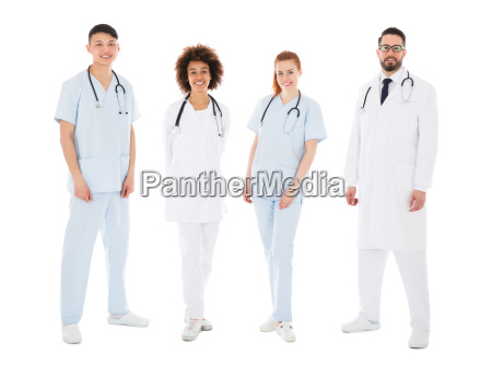 portrait of happy multiracial medical team