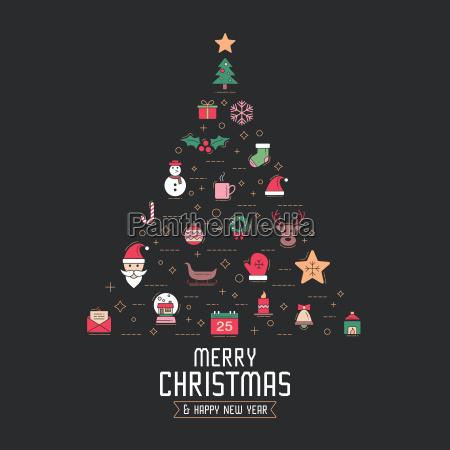 christmas greeting card or invitation set