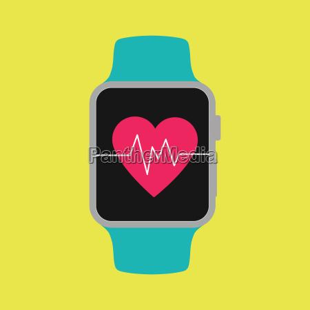 smart watch shown heartbeat on screen