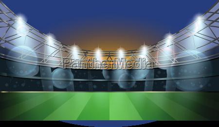 soccer stadium with spot light football