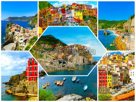 collage of cinque terre photos in