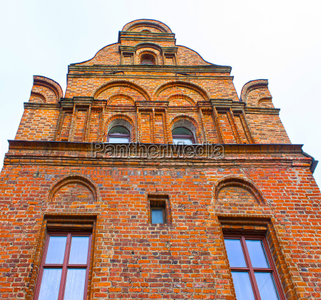 the fasade of old house at