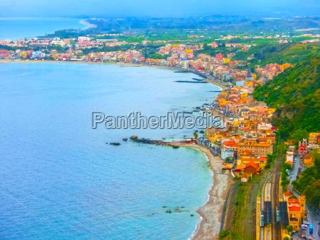 beautiful landscape panorama fromtaormina sicily italy