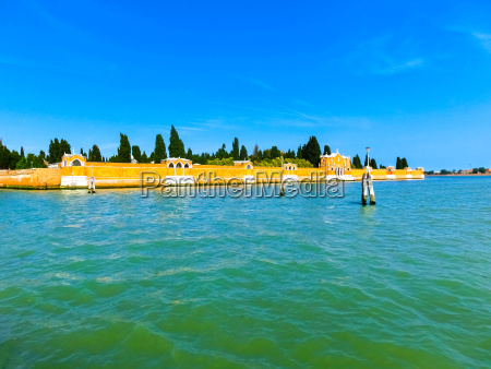 venice lagoon with san michele cemetery