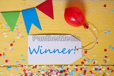 party label confetti balloon text winner