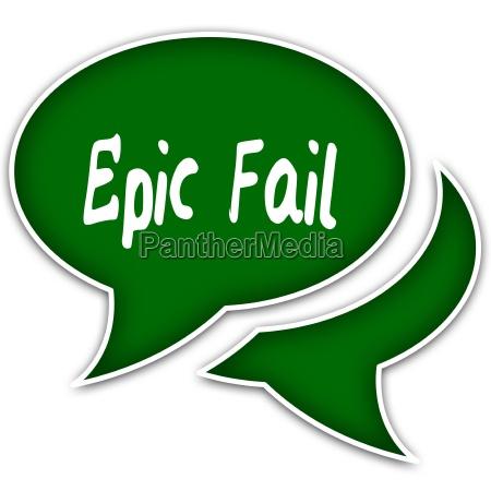 green speech balloons with epic fail