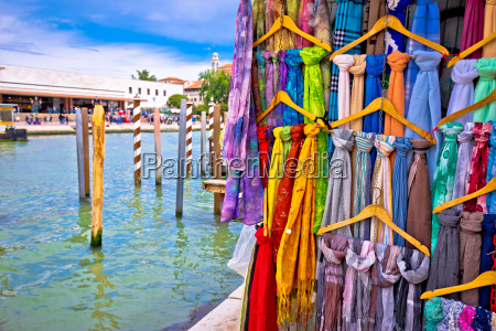 colorful silk on street of venice