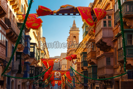 decorated street in old town of