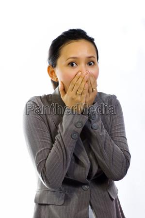 asian woman shut her mouth