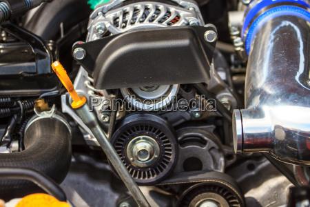close up car engine