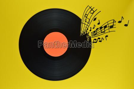black vinyl record centered on yellow