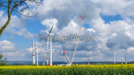 big construction site wind turbines