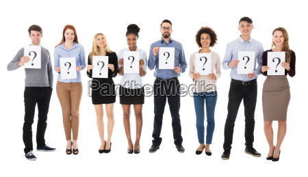 group of college students with question
