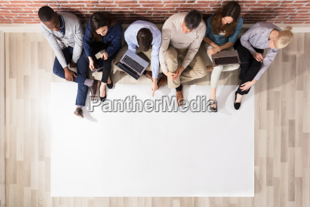 overhead view of diverse people with