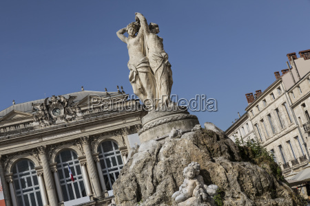 historic fountain in montpellier southern france