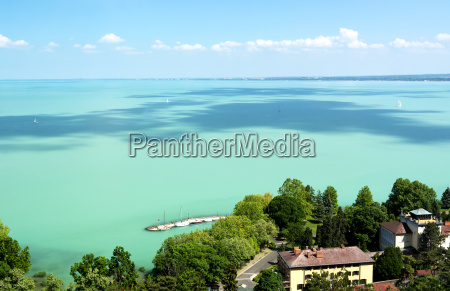 landscape of lake balaton from tihany