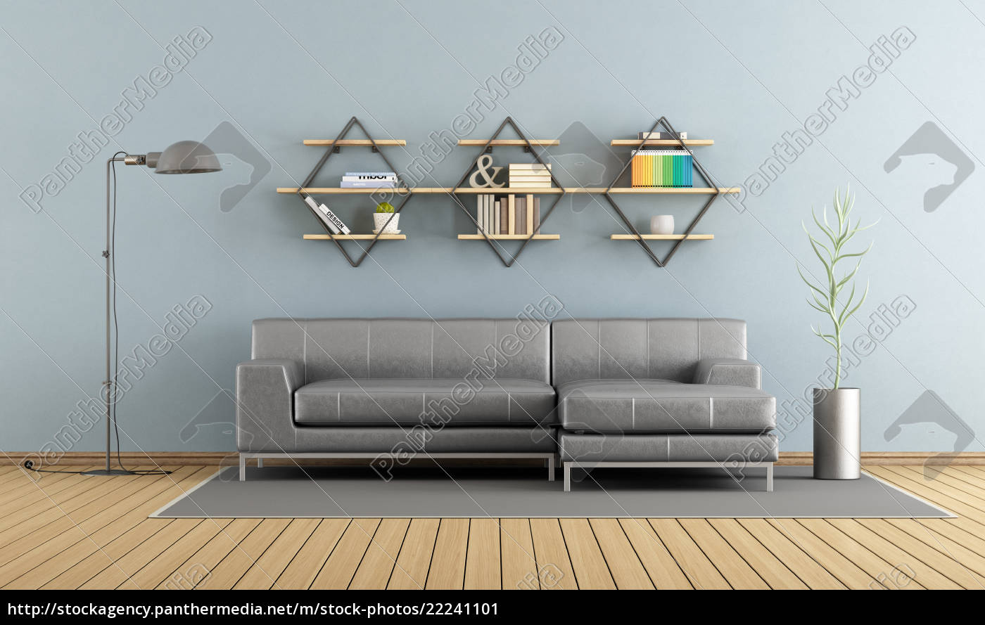 Stock Photo 22241101 - Modern living room with sofa and shelves