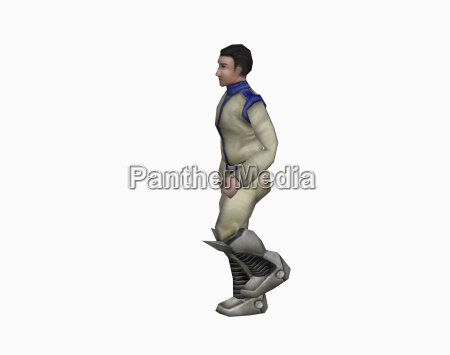 man in spaceman uniform isolated