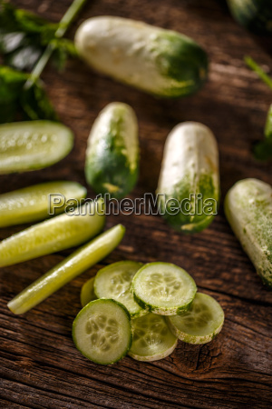 slices and whole cucumbers