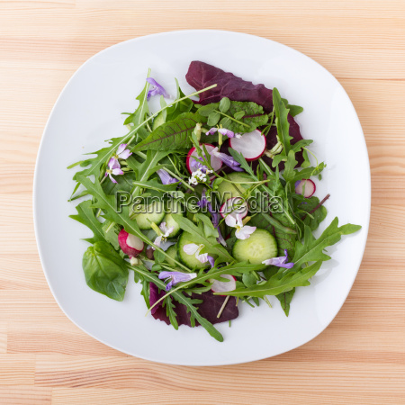 salad with different leaves vegetables and