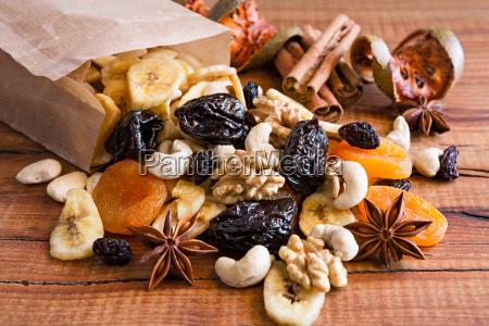 closeup of mix of dried fruits