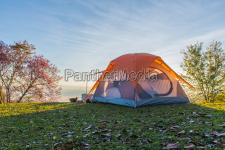 camping tent in campground on top
