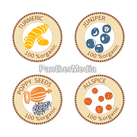 set of spices labels 100 organic