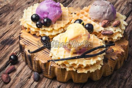 vanilla ice cream on waffles