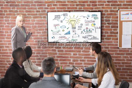 young businesswoman discussing a new business