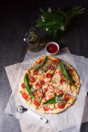 vegetarian wild garlic pizza