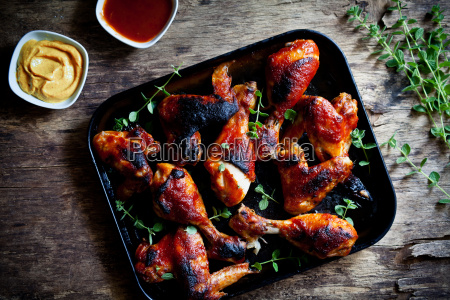 grilled chicken legs and wings