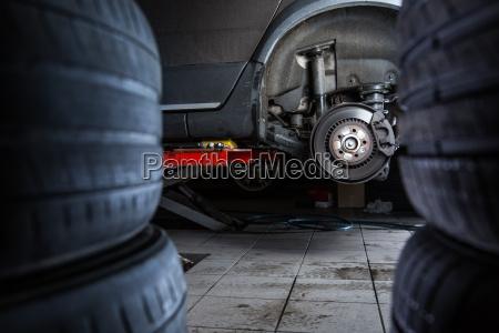 inside a garage modern car