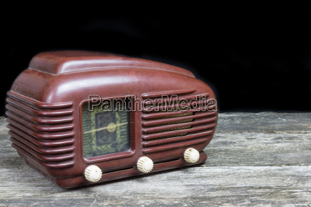 side view of an old radio