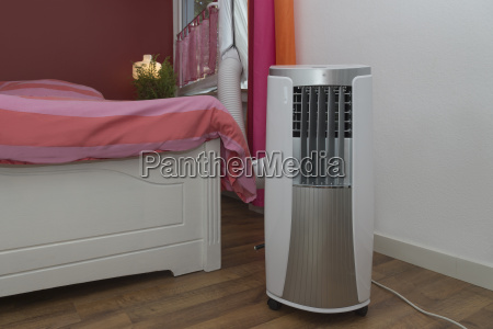 mobile air conditioning cools the bedroom