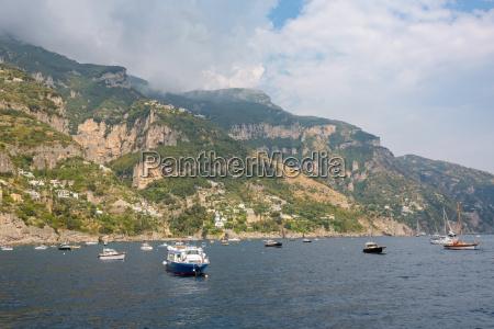 yachts at amalfi coast near positano