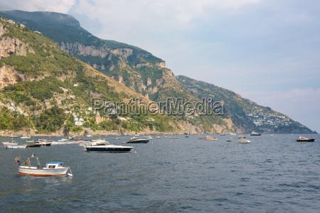 boats at amalfi coast near positano
