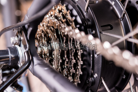 close up of bicycle gear
