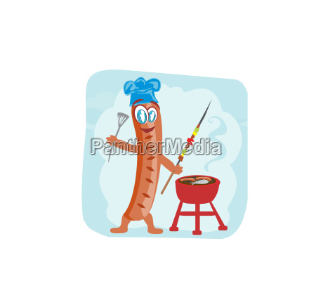 cheerful sausage funny doodle invitation