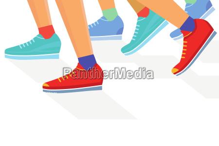 runners group jogging illustration