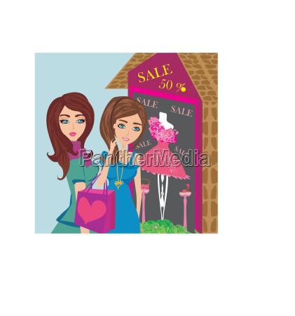 girls on big shopping sale