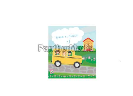 school bus heading to school with