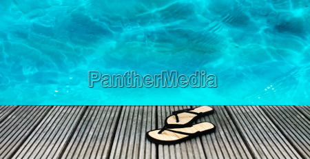 swimming pool with slippers