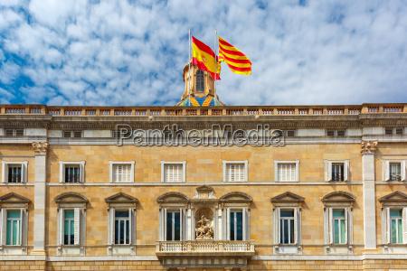catalan and spain flags barcelona spain