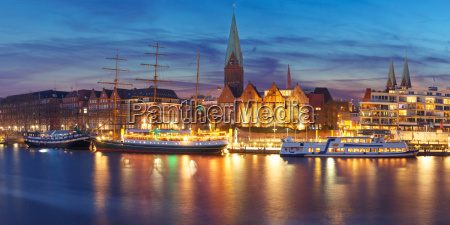 weser river and st martin church