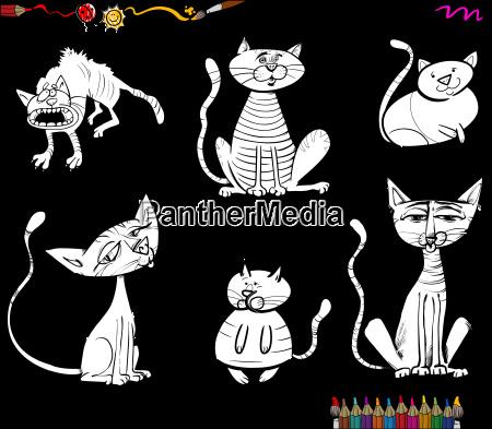 cartoon cat characters coloring book